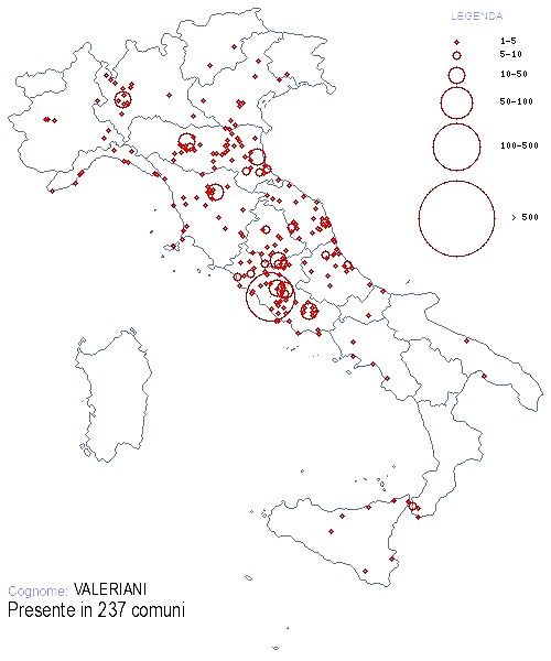 Valeriani location in Italy